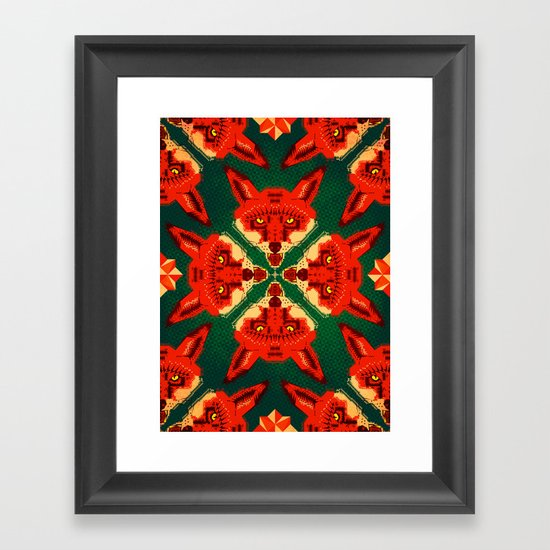 Fox Cross geometric pattern Framed Art Print