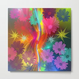 Whimsical Daisy- and other flowers on an abstract background Metal Print