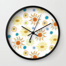 mid century retro sun solar 60's pattern Wall Clock