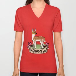 I'm fawn'd of you! Unisex V-Neck