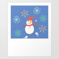 snowman Art Prints featuring Snowman by Mr & Mrs Quirynen