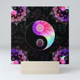 'Divine Balance' Yin Yang Black Pink Purple Blue Mini Art Print