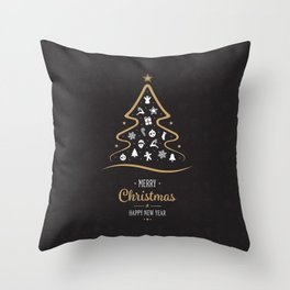 Vintage Black and Gold Christmas Tree Design. Throw Pillow