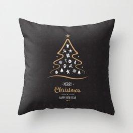 Vintage Black and Gold Christmas Tree Design. Throw Pillow