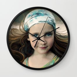Dancer at Dusk - portrait painting of a young girl Wall Clock