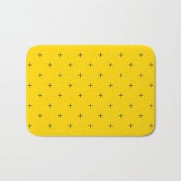 Crosses on Bright Mustard Yellow Bath Mat