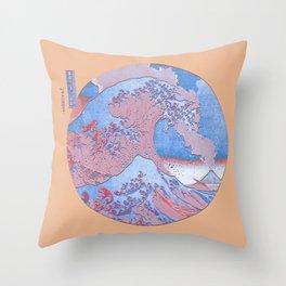 Great Wave Off Kanagawa Mount Fuji Eruption Orange  Throw Pillow