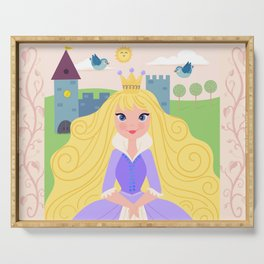 Fairy Tale Princess With Her Story Book Castle - Purple Dress Serving Tray