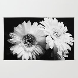 Flowers in Black and White - Nature Vintage Photography Rug