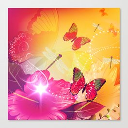 Awesome colorful flowers and butterfly Canvas Print