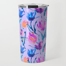 Tulip fever (floral seamless pattern in lilac, ultramarine, magenta, blue, orange colours) Travel Mug