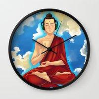 buddah Wall Clocks featuring Adeptu Buddah by Conversa entre Adeptus