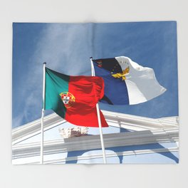 Portugal and Azores flags Throw Blanket
