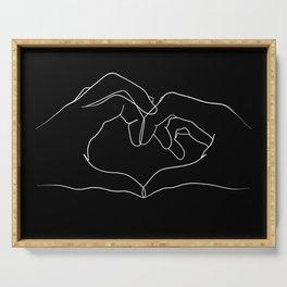 line art heart hands Serving Tray