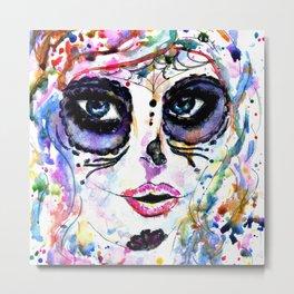 Halloween girl with sugar skull makeup, watercolor painting Metal Print