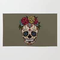 "sugar skull Area & Throw Rugs featuring ""SUGAR SKULL"" by Magdalena Sky - The Moth"
