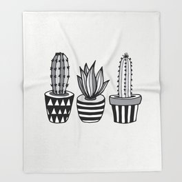 Cactus Plant monochrome cacti nature greyscale illustration floral succulent leaf home wall decor Throw Blanket