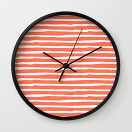 Thin Stripes White on Deep Coral Wall Clock