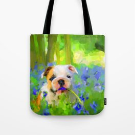 Bulldog and Bluebells Tote Bag