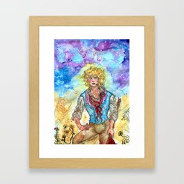 a star in the jaws of the clouds Framed Art Print
