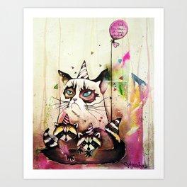 Surly Cat & Friends Art Print