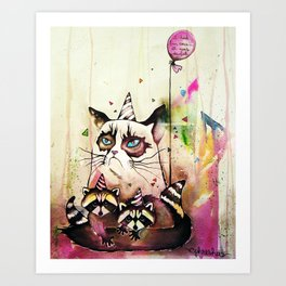 Surly Cat & Friends Art Print