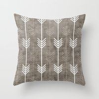 Throw Pillows featuring dirty arrows by holli zollinger