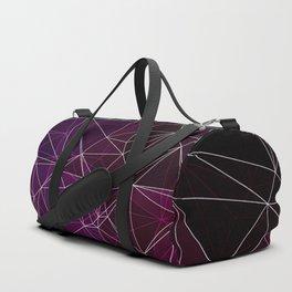 Polygonal purple ,white and black Duffle Bag