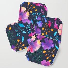 Fluro Floral Watercolour Flower Pattern Coaster