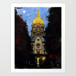 Golden Dome At Dusk: South Bend, IN Art Print