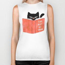 Cat reading book Biker Tank