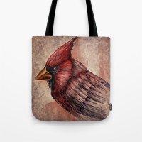 cardinal Tote Bags featuring Cardinal by Werk of Art