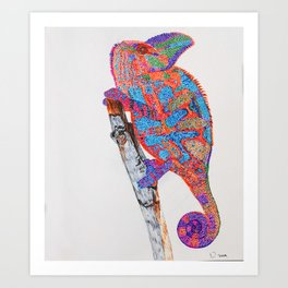 Colorful Chameleon  Art Print
