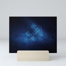 Sagittarius zodiac sign, night sky,Horoscope Astrology background,Sagittarius horoscope symbol, blue horoscope Mini Art Print