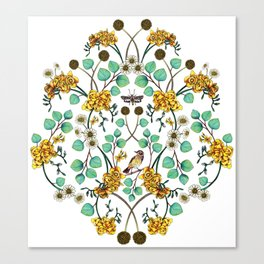 Warblers & Moths - Yellow & Teal Spring Floral/Bird Pattern Canvas Print