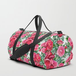 Watercolor heart with floral design Duffle Bag