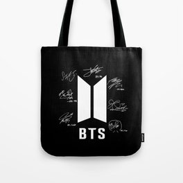 bts logo with black with signatures Tote Bag