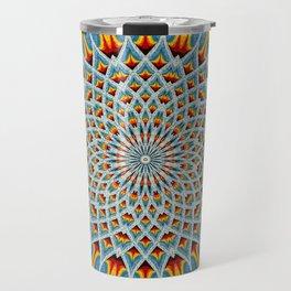 Watercolor Mandala Grunge - Magenta Blue Yellow Travel Mug