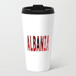 Albania Word With Flag Texture Travel Mug