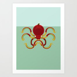 The fisherman and the octopuss Art Print