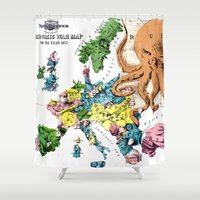 political Shower Curtains featuring Vintage Political Cartoon Map of Europe (1877)  by BravuraMedia