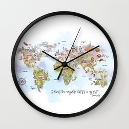 World Map Watercolor Wall Clock