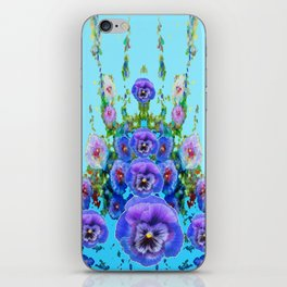 MODERN BLUE WESTERN GARDEN  PURPLE PANSY FLOWERS iPhone Skin
