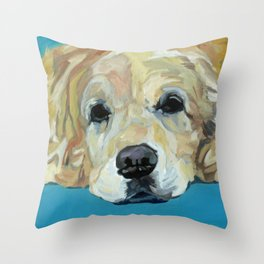 Shiner the Golden Retriever Portrait Throw Pillow