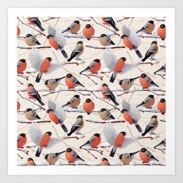Bullfinches  seamless texture Art Print