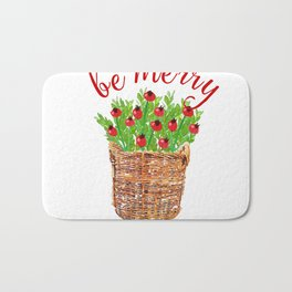 Be Merry Red Berries in Christmas Basket Bath Mat