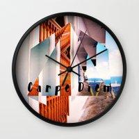 puerto rico Wall Clocks featuring Carpe Diem in Puerto Rico by Forgotten Charm