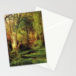 Forest Scene 1870 By Thomas Moran | Dense Woods Watercolor Reproduction Stationery Cards