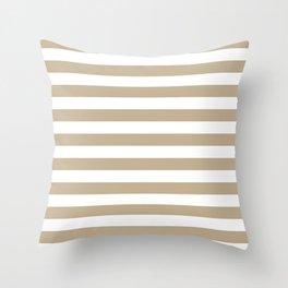 Narrow Horizontal Stripes - White and Khaki Brown Throw Pillow