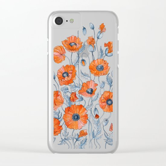 Poppies botanical art Clear iPhone Case